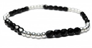 Sterling Silver Ball and Black Faceted Czech Bracelet from Jacy & Jools