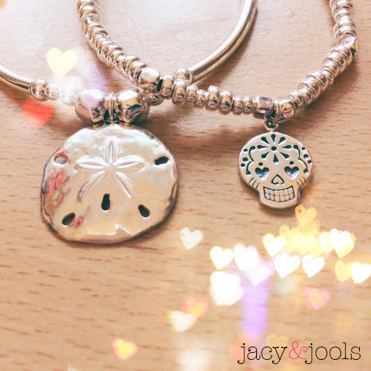 Sterling Silver Sand Dollar and Sugar Skull Charms In Jacy & Jools Summer Collection