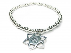 Sterling Silver Mixed Ball Bracelet with  Lotus Ohm Bracelet