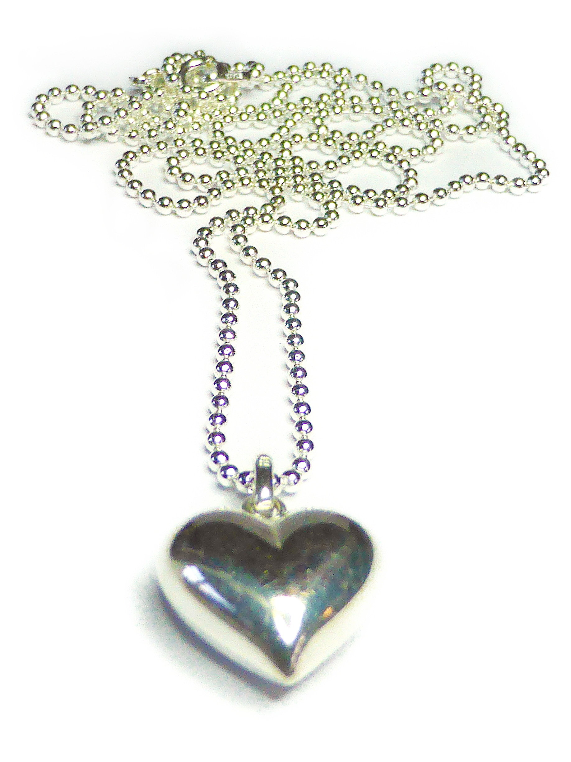 Ball Chain Pendant with Puffed Heart from Jacy & Jools Cheshire