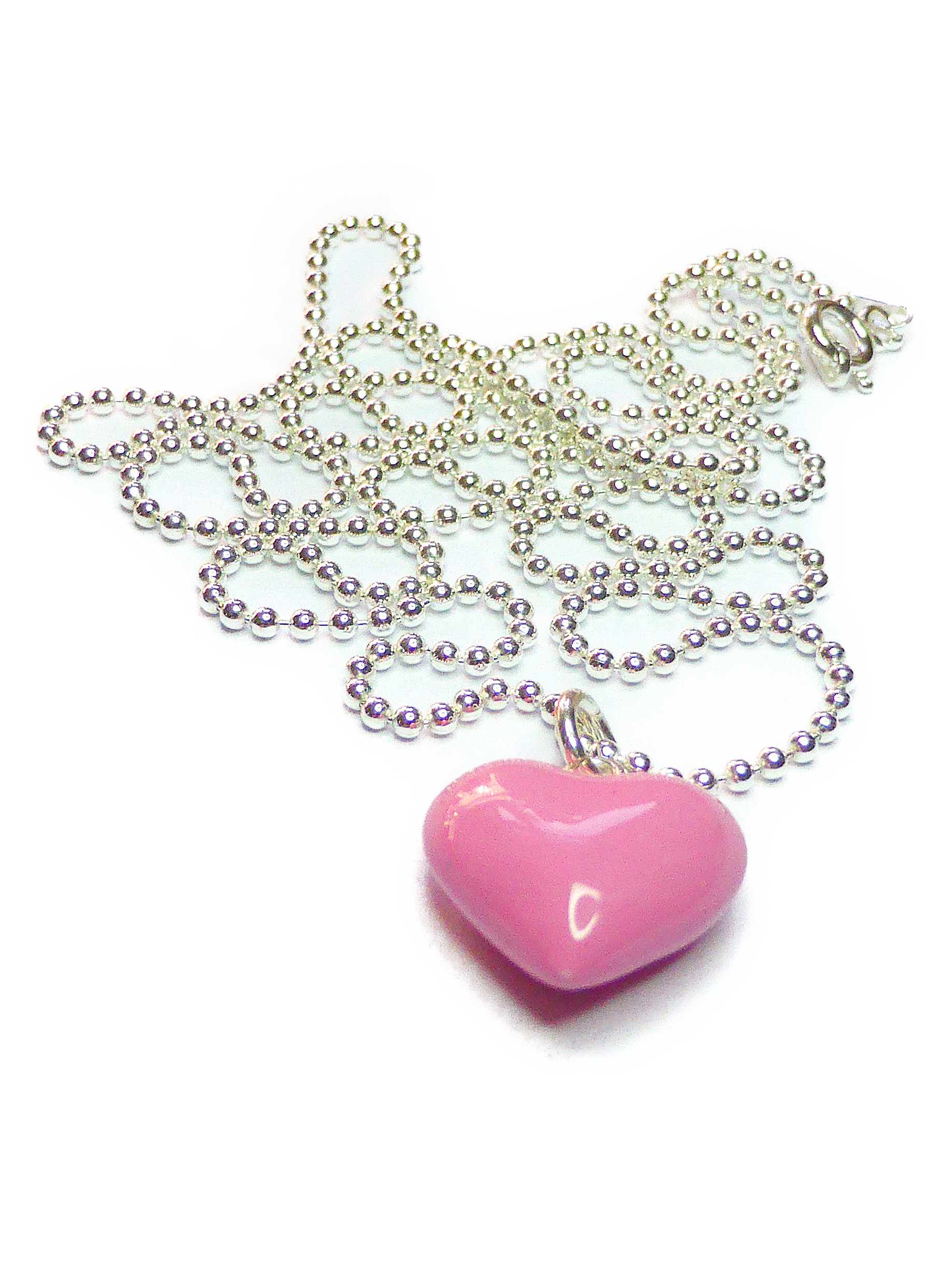 Ball Chain Pendant with Pink Puffed Heart from Jacy & Jools Cheshire