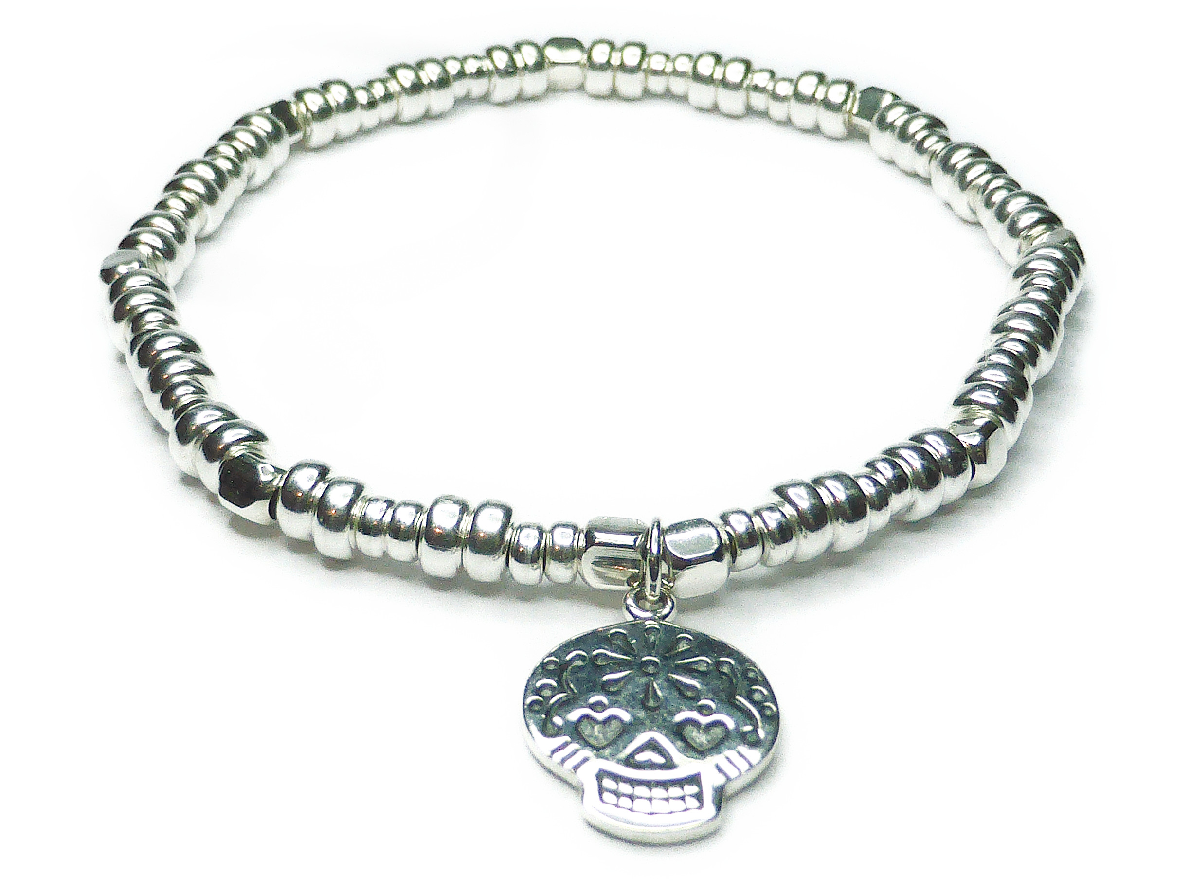 Sterling Silver Bolt Bracelet with Sugar Skull Charm from Jacy & Jools