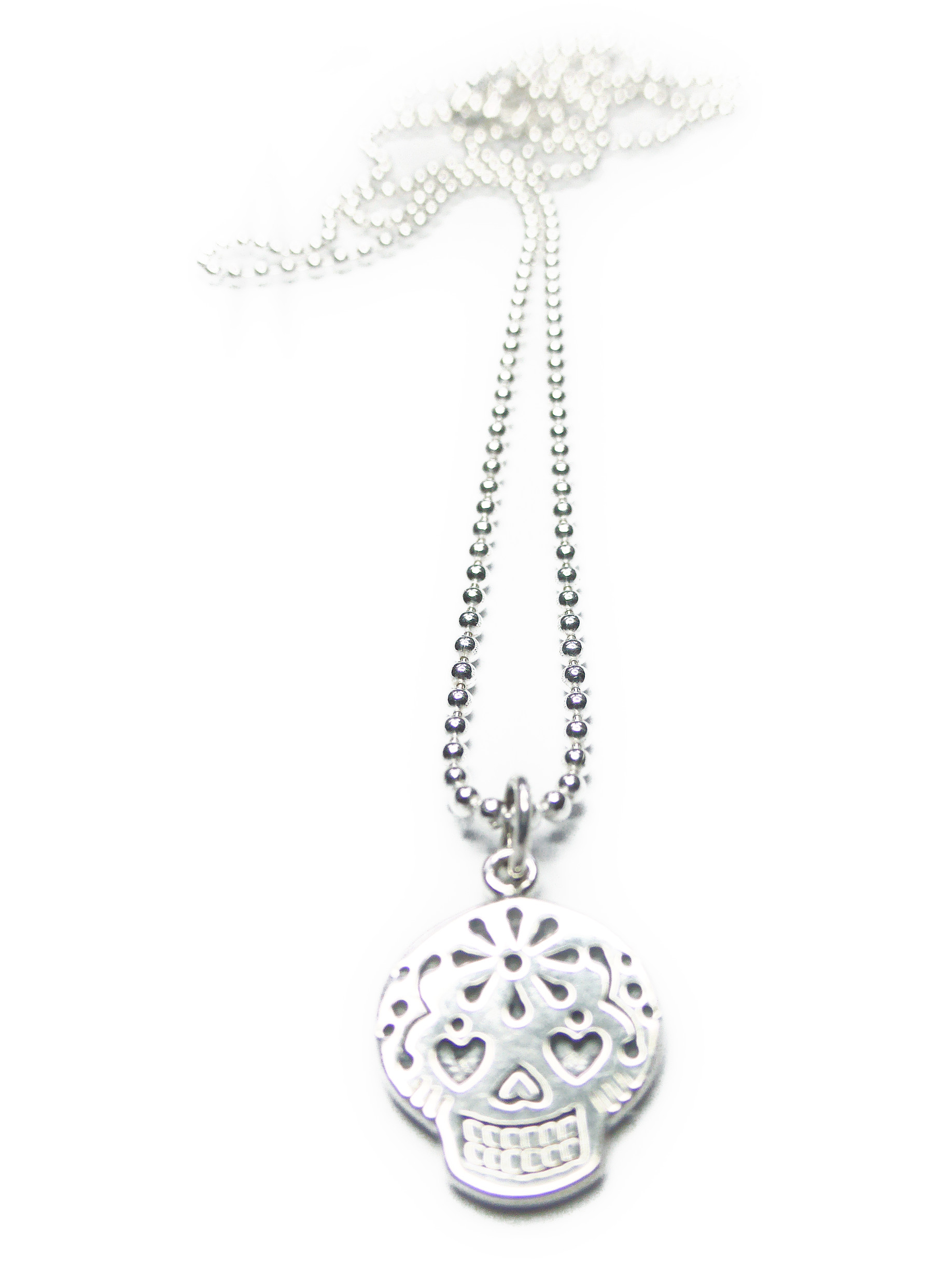 Sterling Silver Sugar Skull Ball Chain Pendant from Jacy & Jools