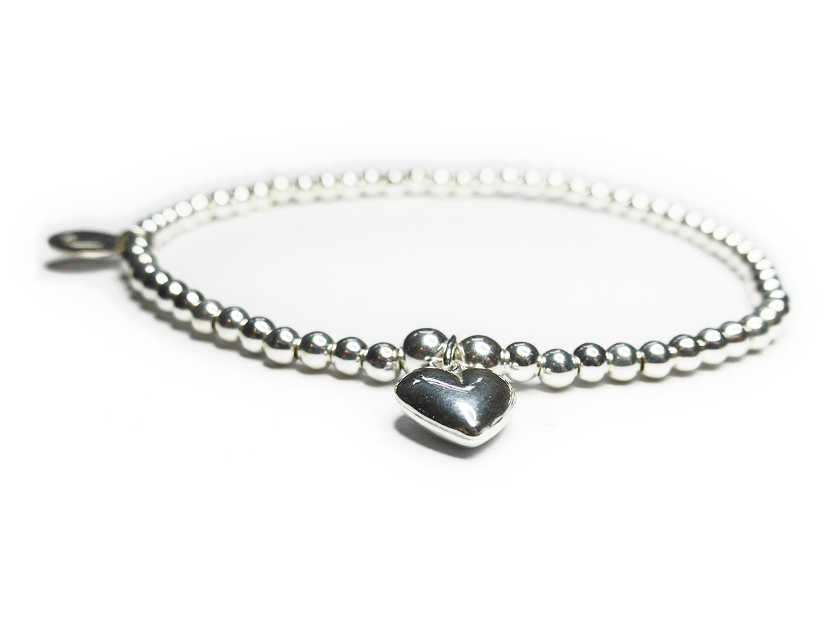 Sterling Silver Ball Bracelet with Puffed Heart from Jacy & Jools