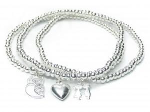 Sterling Silver Ball & Rondelle Bracelet Stack