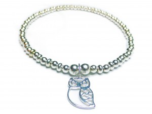 Sterling Silver Ball & Rondelle Bracelet with Owl