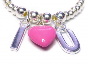 Sterling Silver Bracelet with I Heart U Pink Charms Close-up (3)