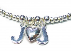 Sterling Silver Bracelet with J Heart J Charm Close-up