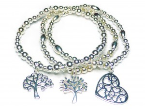 Sterling Silver Bracelets with Tree of Life and Heart Charms