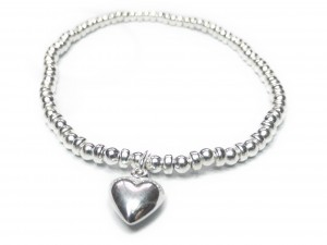 The Sterling Silver Ball & Rondelle Bracelet with Puffed Heart Charm