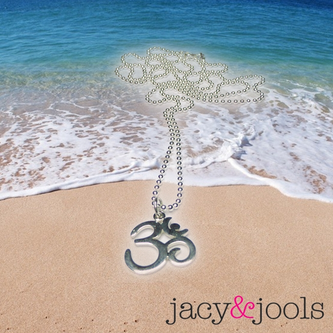 Sterling Silver Ball Chain Pendfant with Ohm