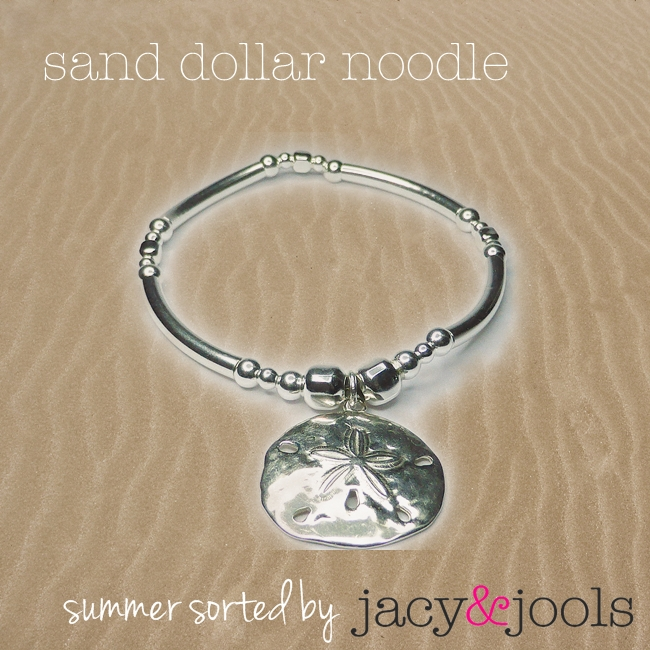 Sterling Silver Sand Dollar Noodle and Bolt Bracelet