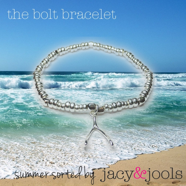 Sterling Silver Bolt Bracelet with Wishbone Charm from Jacy & Jools Cheshire