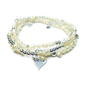 Freshwater Pearl and Sterling Silver Bracelet Stack