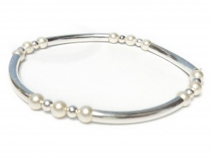Sterling Silver and Pearl Noodle Bracelet by Jacy & Jools Bridal Jewellery Cheshire