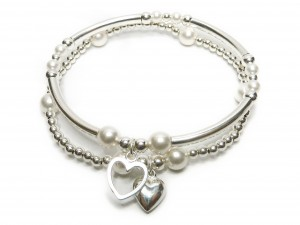 Sterling Silver and Pearl Ball and Noodle Bracelet Stack by Jacy & Jools Bridal Jewellery Cheshire