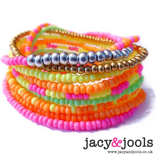 Stack of Festival Neon Bracelets from Jacy & Jools Cheshire