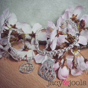 Sterling Silver Chinese Happiness and Multi Heart Bracelet from Jacy & Jools Jewellery Cheshire