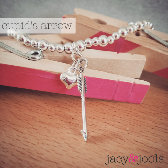 Sterling Silver Ball Chain with Cupid's Arrow and Puffed Heart Charms