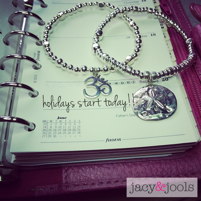 Sterling Silver Ball Bracelets with Ohm and Sand Dollar Charms by Jacy & Jools Cheshire