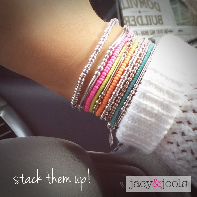 Sterling Silver & Neon Bracelet Stack From Jacy & Jools Cheshire