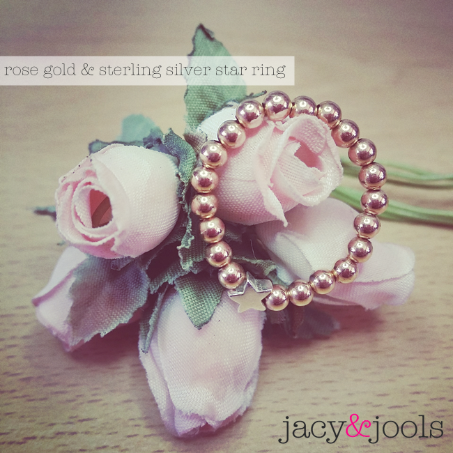 Rose Gold Ball Ring with Sterling Silver Star Bead by Jacy  & Jools Cheshire