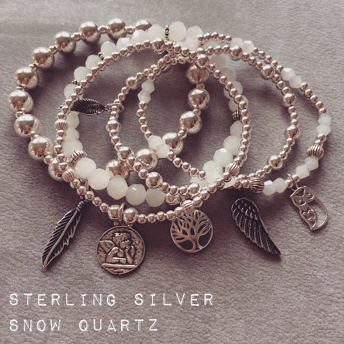 Sterling Silver and Snow Quartz Charm Bracelet Stack by Jacy & Jools