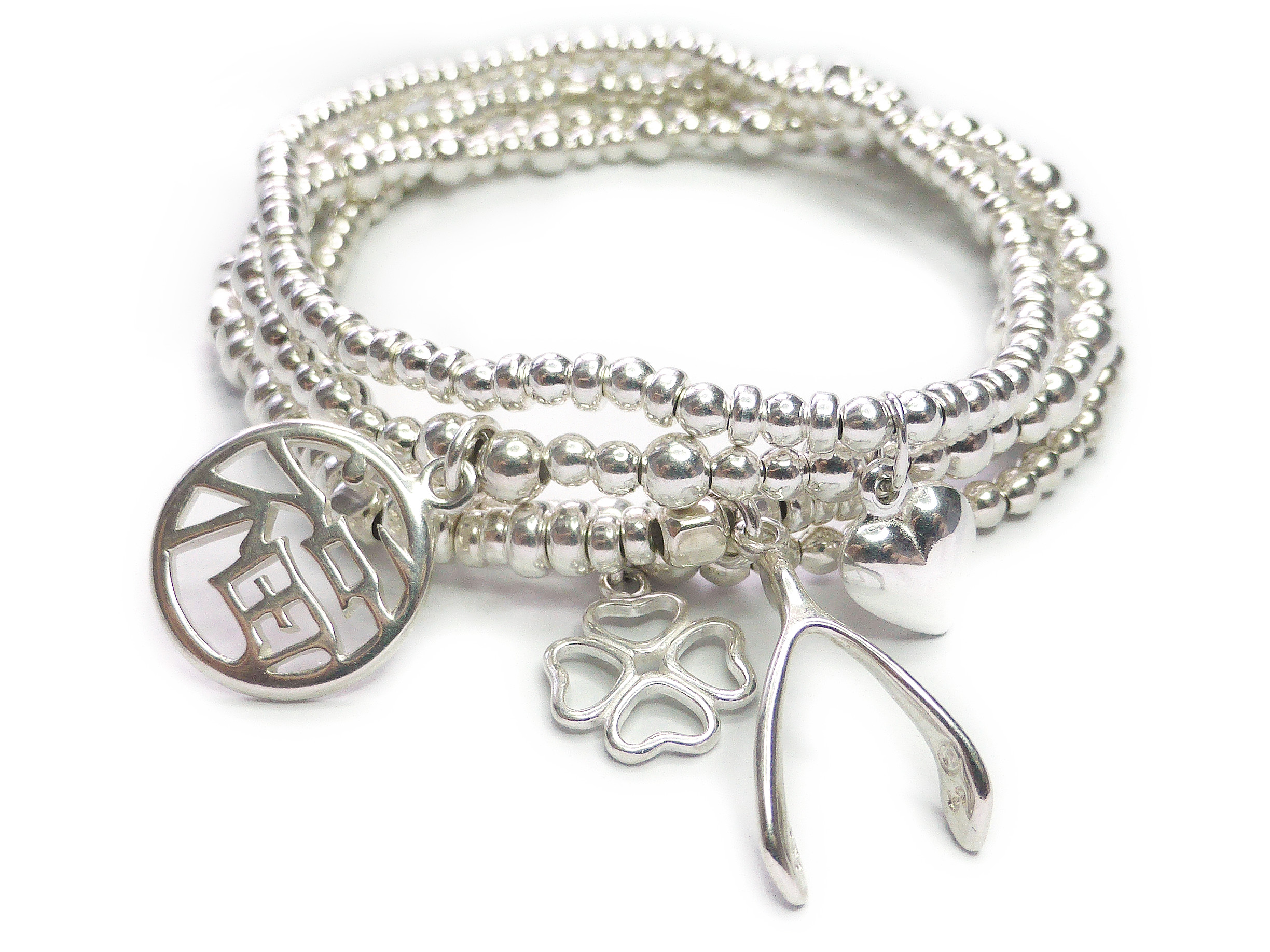 Love, Luck and Happiness Stack of Sterling Silver Ball Bracelets by Jacy & Jools