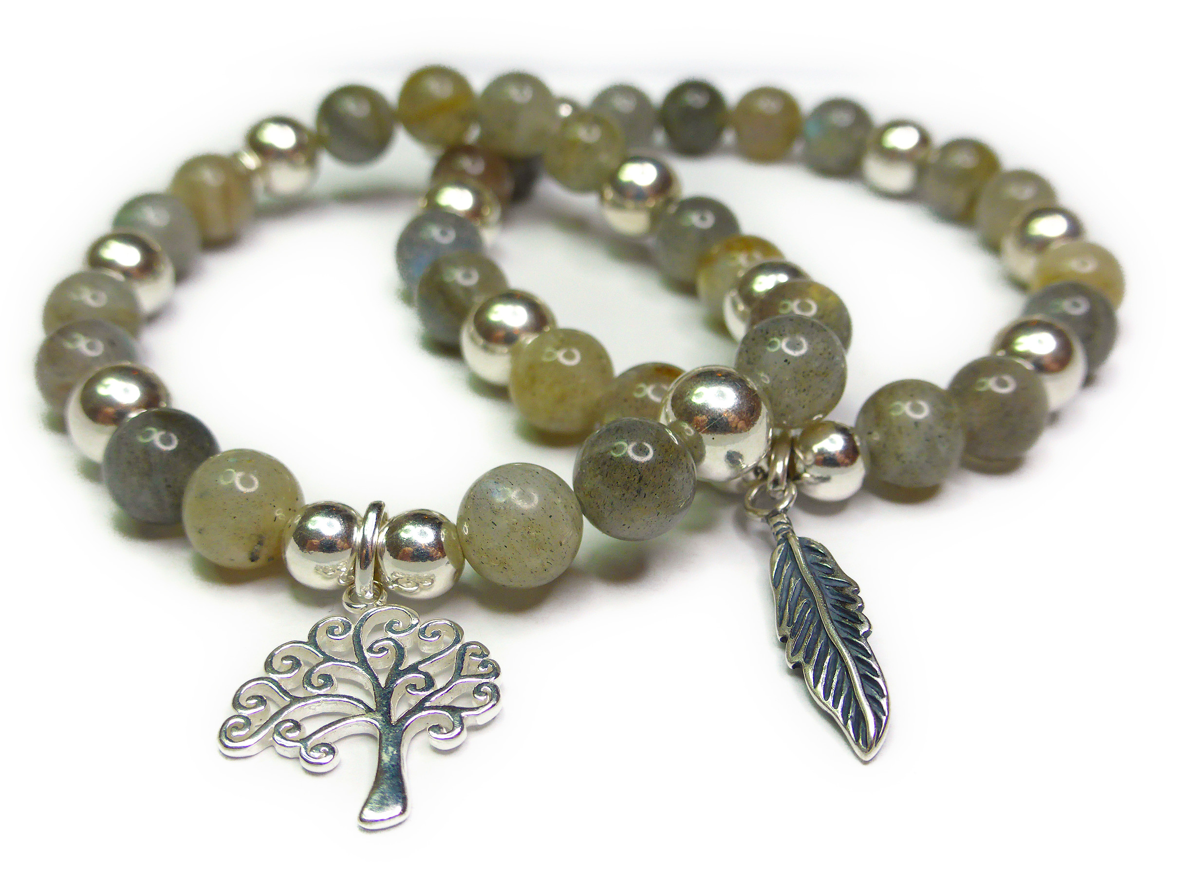 Labradorite and Sterling Silver Bracelets from the Moonstorm Collection by Jacy & Jools