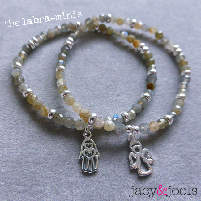 Labradorite & Sterling Silver Mini Bracelets with Hamsa and Angel Charms