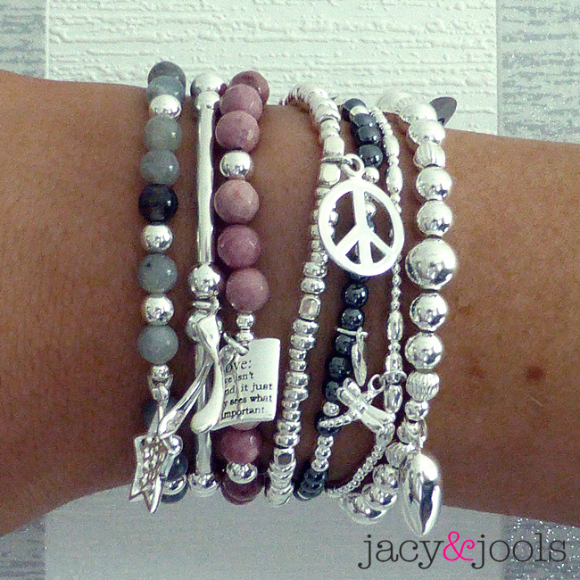 Stack of Labradorite, Rhodonite and Sterling Silver Bracelets by Jacy & Jools