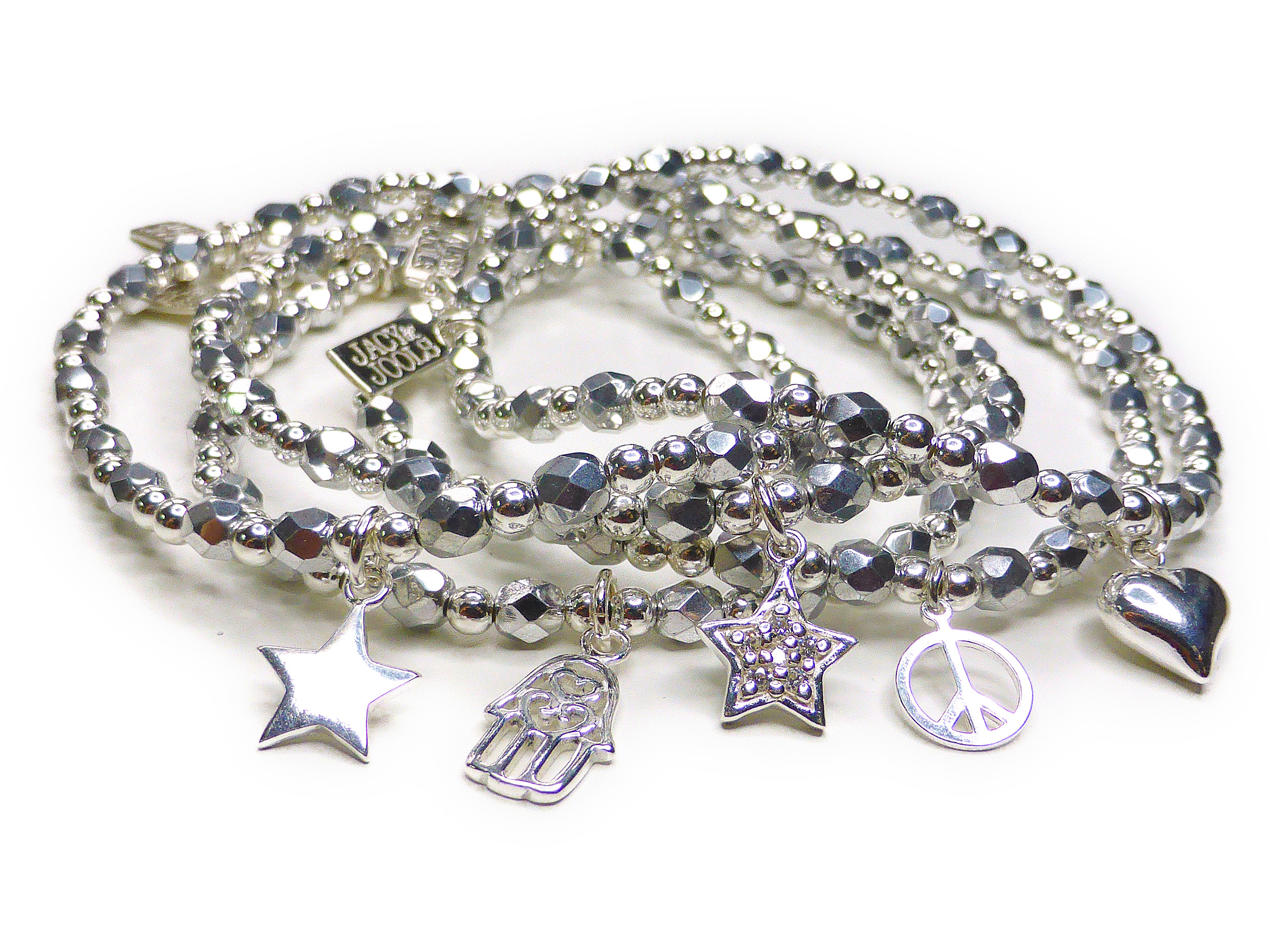 Faceted Silver & Sterling Silver Glitterball Stack (2)