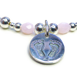 Sterling Silver Mixed Ball Baby Girl Footprints Bracelet