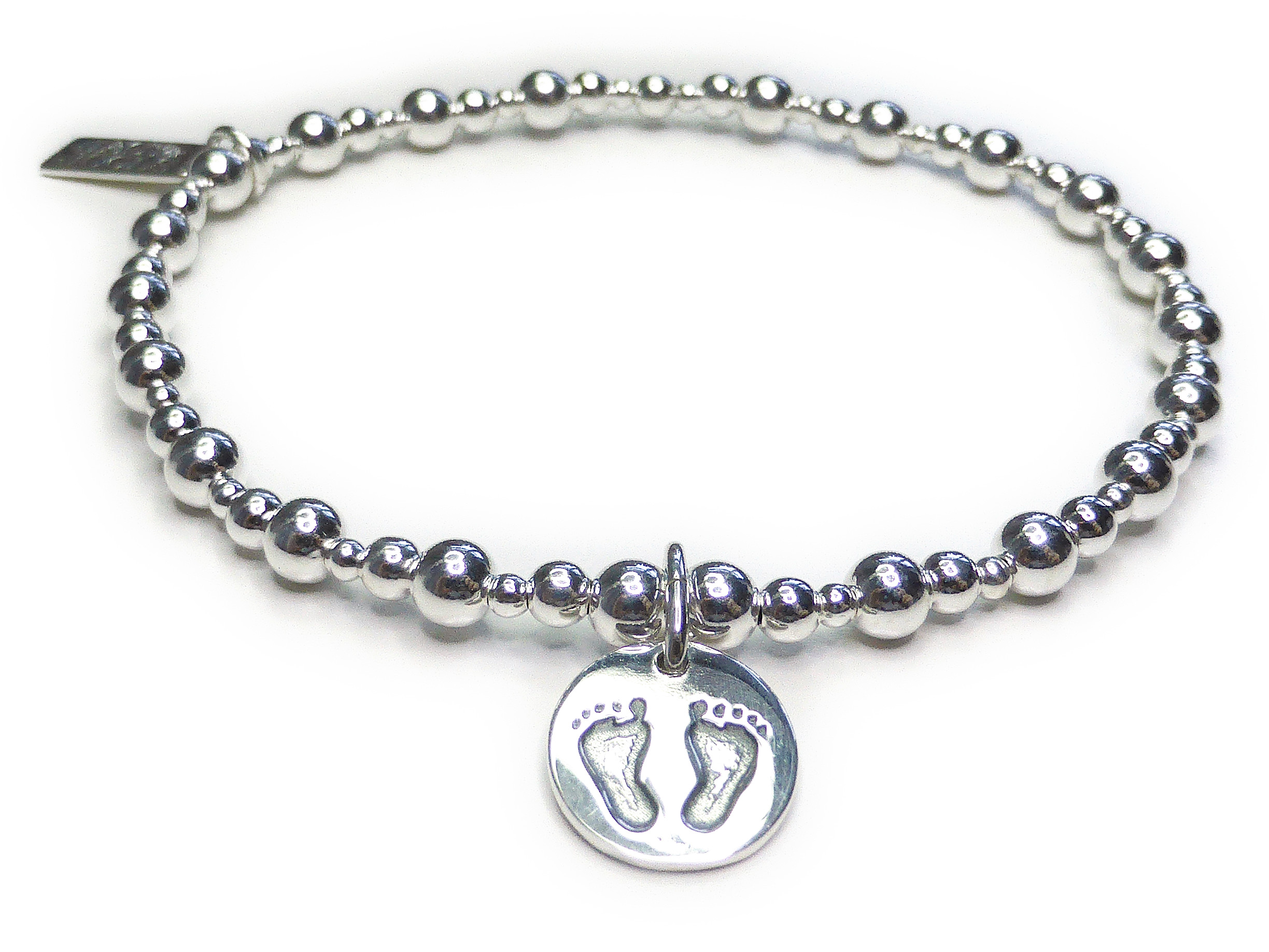 Sterling Silver Mixed Ball Bracelet with Baby Footprints (8)